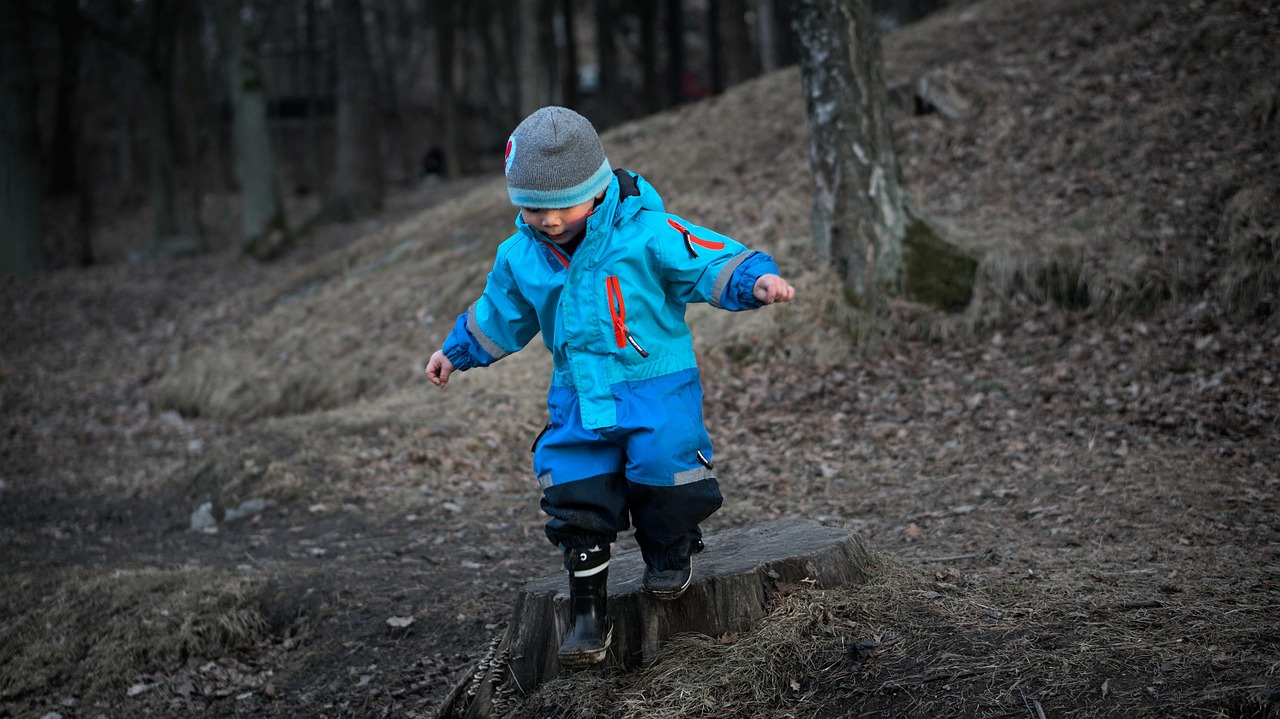 child taking small step